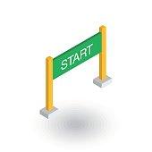 Start banner isometric flat icon. 3d vector