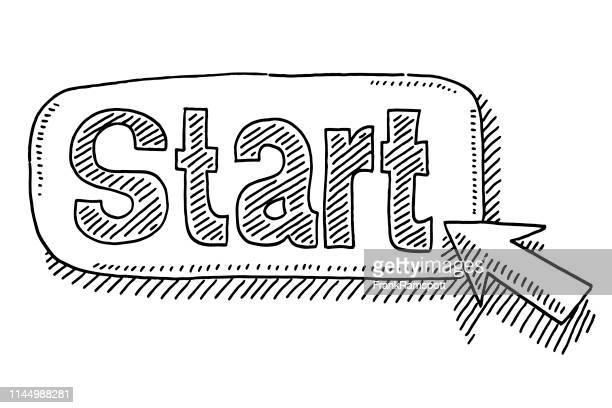start button cursor symbol drawing - beginnings stock illustrations
