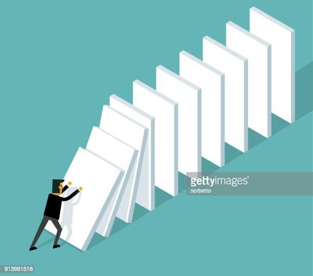 start domino effect - businessman - domino effect stock illustrations