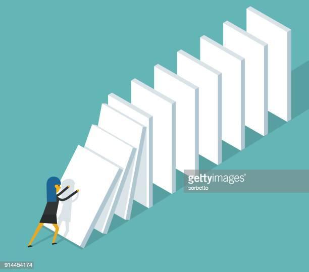 start domino effect - businesswoman - domino effect stock illustrations