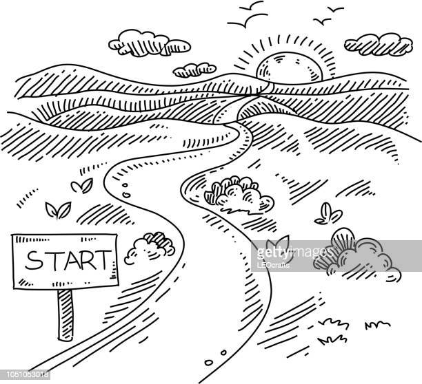 starten sie zeichen weg landschaft zeichnung - horizont stock-grafiken, -clipart, -cartoons und -symbole