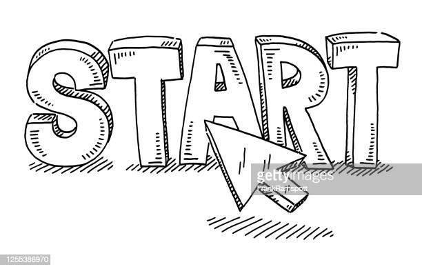text-mauszeiger-zeichnung starten - einzelner gegenstand stock-grafiken, -clipart, -cartoons und -symbole