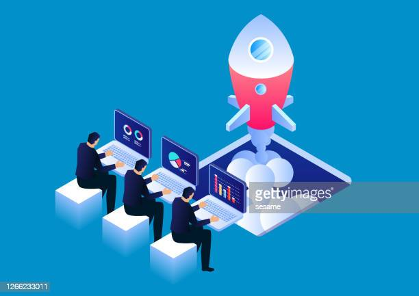 start up a new business, three businessmen sitting and working to start a rocket - launch event stock illustrations