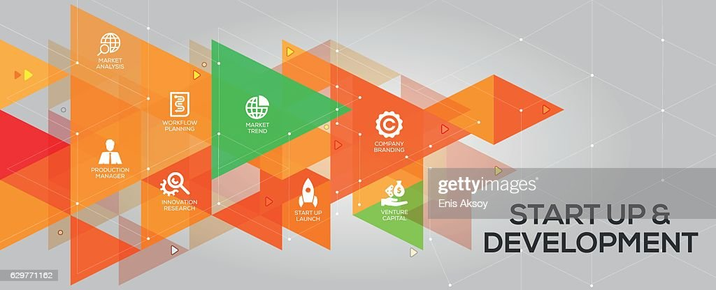 Start up and Development banner and icons