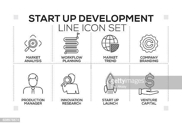 Start up and Development keywords with monochrome line icons