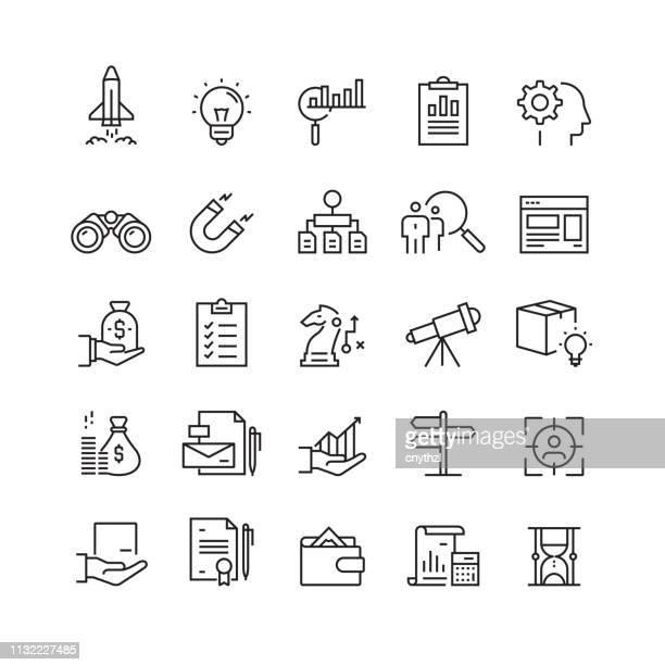 起動と開発関連のベクターラインアイコン - クラウドソーシング点のイラスト素材/クリップアート素材/マンガ素材/アイコン素材