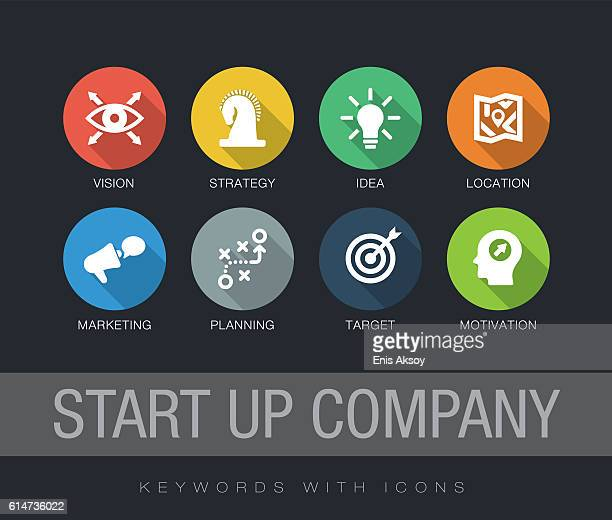 illustrations, cliparts, dessins animés et icônes de start up company keywords with icons - culture d'entreprise