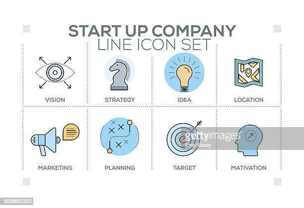 Start up Company keywords with line icons