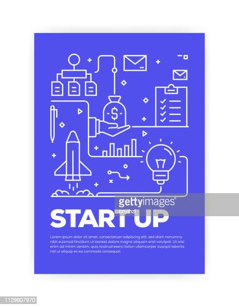 start up concept line style cover design for annual report, flyer, brochure. - new business stock illustrations