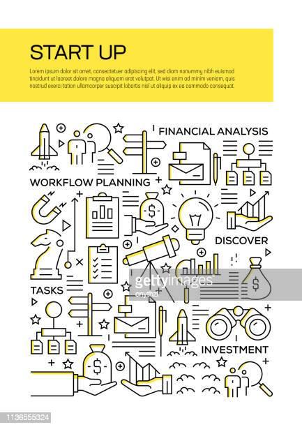 starten sie das design des concept line style cover für geschäftsbericht, flyer, broschüre. - zwischenbericht stock-grafiken, -clipart, -cartoons und -symbole