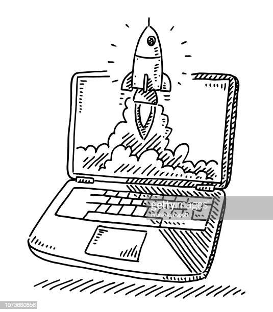 start up concept rocket laptop drawing - rocket stock illustrations