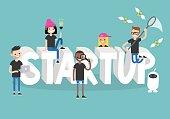 Start up conceptual sign / flat editable vector illustration, clip art