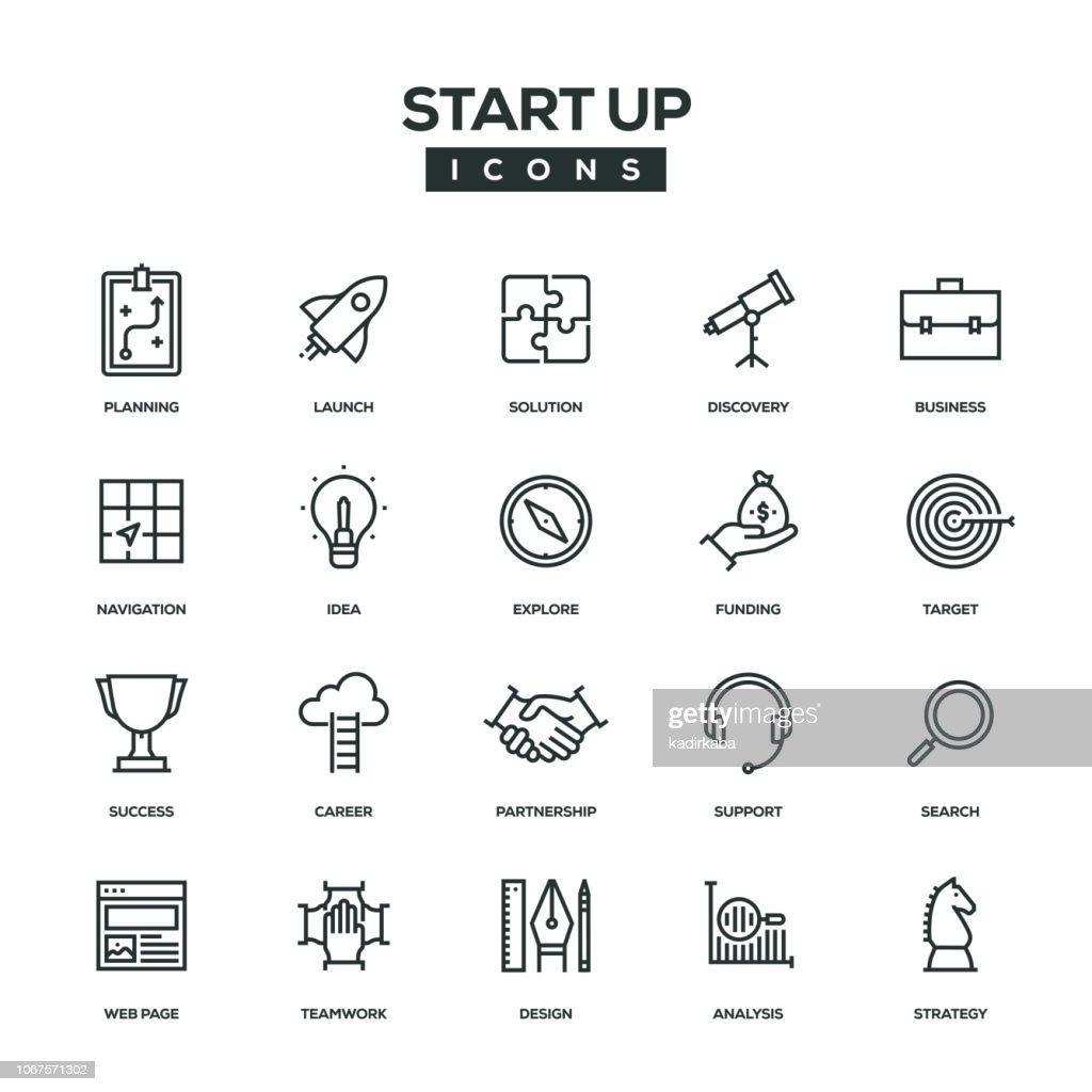 Opstarten van lijn Icon Set : Stockillustraties