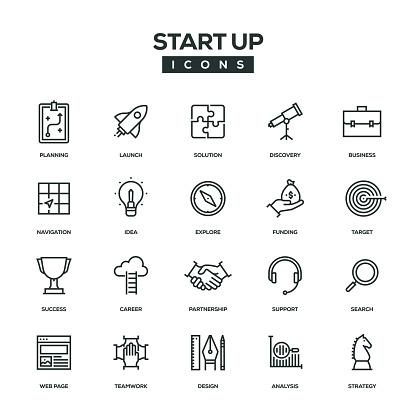 Start Up Line Icon Set - gettyimageskorea