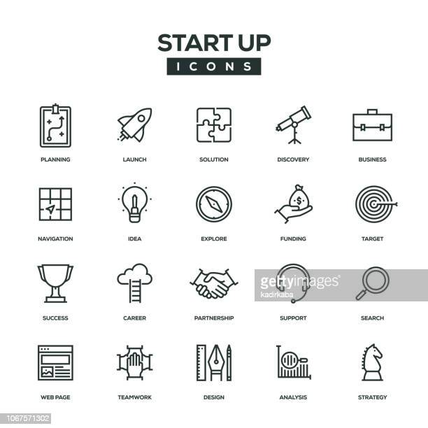 start up line icon set - strategy stock illustrations, clip art, cartoons, & icons