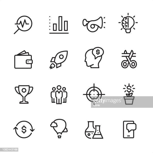 start up - outline icon set - stadtplan stock illustrations
