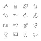 Start up set of vector icons, outline style
