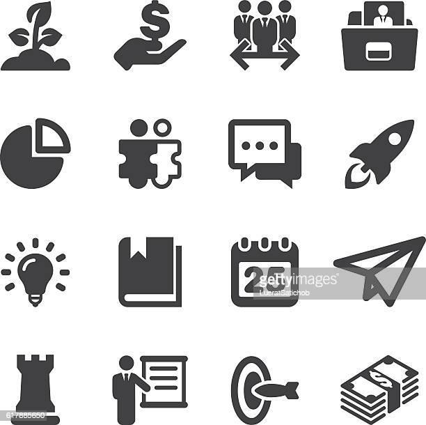 start up silhouette icons | eps10 - arugula stock illustrations, clip art, cartoons, & icons