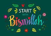 Start with bismillah. Islamic poster.