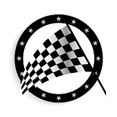 Starting and finishing flags. Auto Moto racing. Checkered flag. Vector realistic image.