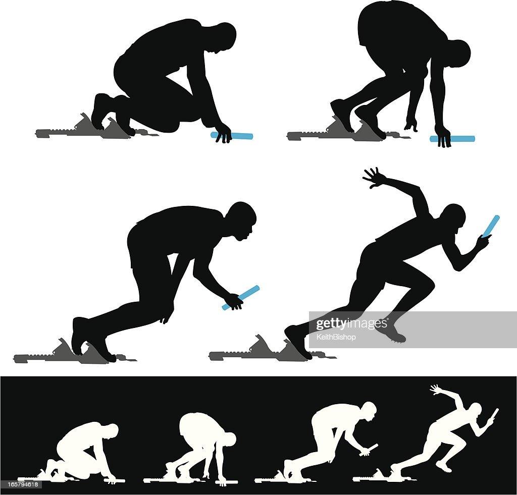 Bloque de salida de relé de atleta de pista de carreras : Ilustración de stock