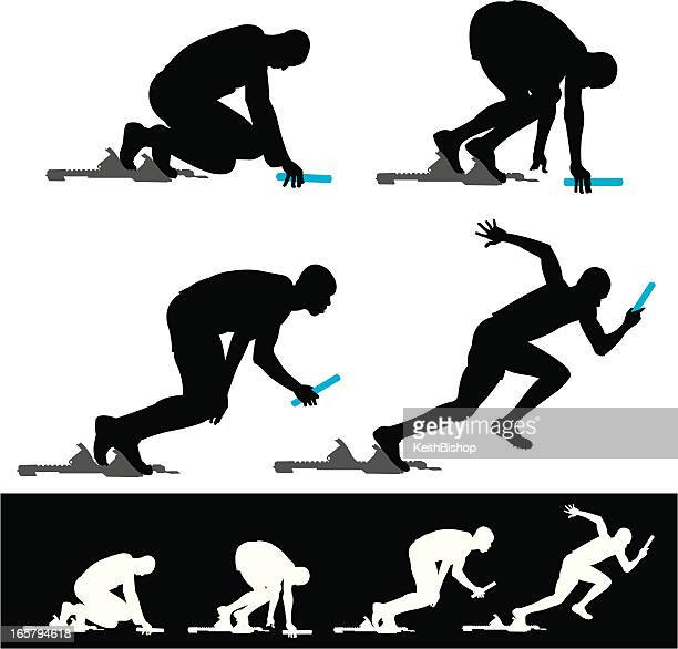starting block track sprinter relay race - track and field stock illustrations, clip art, cartoons, & icons