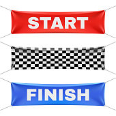 Starting, finishing, and checkered vinyl banners with folds. Vector set