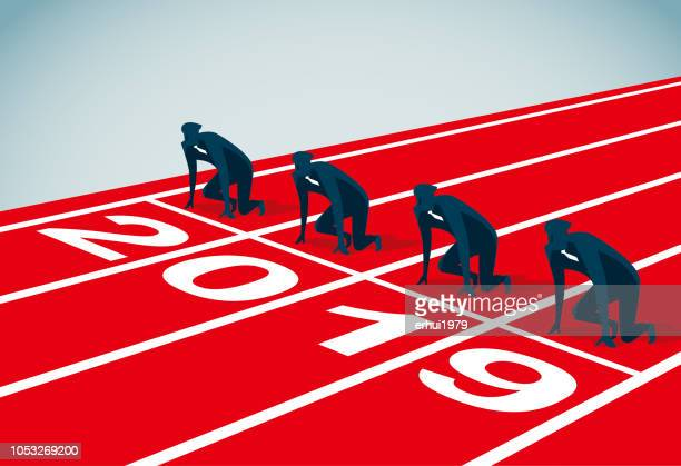 starting line - competitive sport stock illustrations, clip art, cartoons, & icons