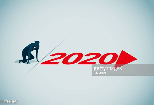 starting line - 2019 2020 calendar stock illustrations