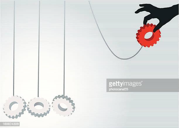 bildbanksillustrationer, clip art samt tecknat material och ikoner med starting the solution - newtons pendel