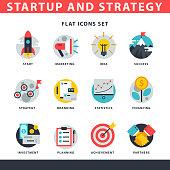 Startup and strategy web busines icon set for websites ui management finance start up vector illustration