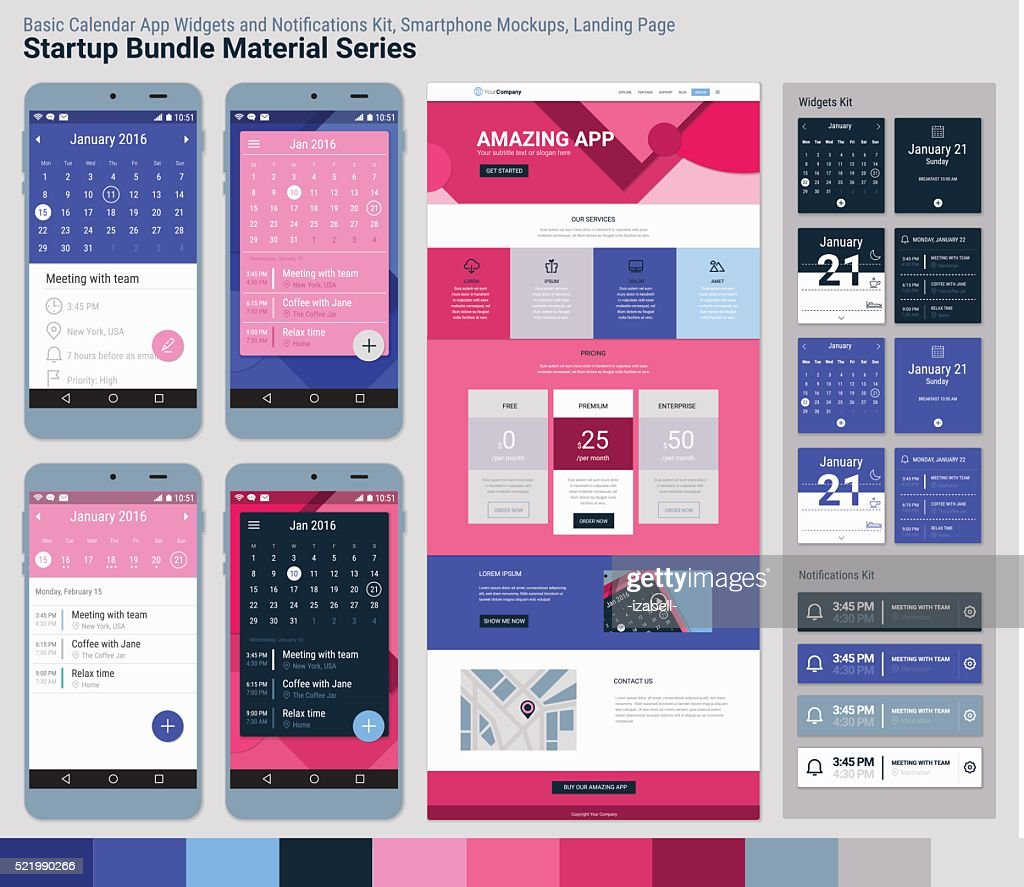 Startup Bundle Material Series. Mobile App UI and Landing Page