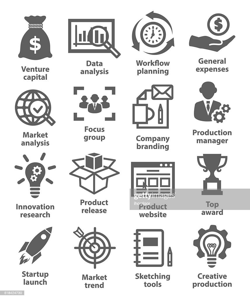 Startup business and development icons