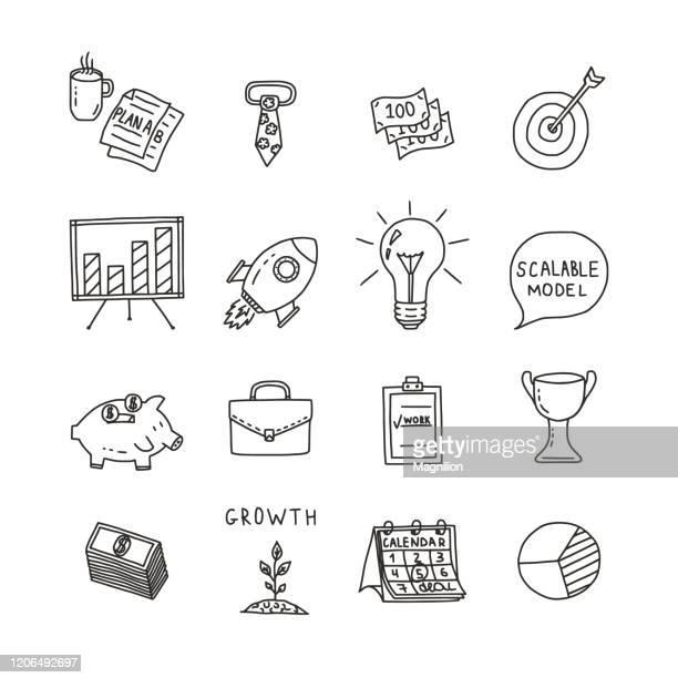 startup business doodle set - geschäftsgründung stock-grafiken, -clipart, -cartoons und -symbole