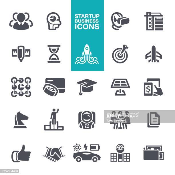 startup business icons - artificial neural network stock illustrations