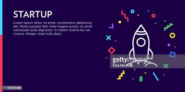 illustrations, cliparts, dessins animés et icônes de concept de démarrage. geometric pop art et rétro style web banner and poster concept with rocket icon. - panoramique