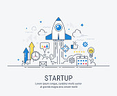Startup concept with thin line flat modern design