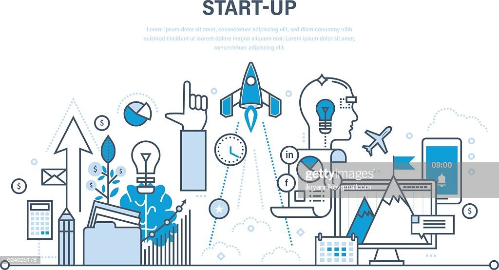 Startup, creative, business and  processes, the implementation of ideas.
