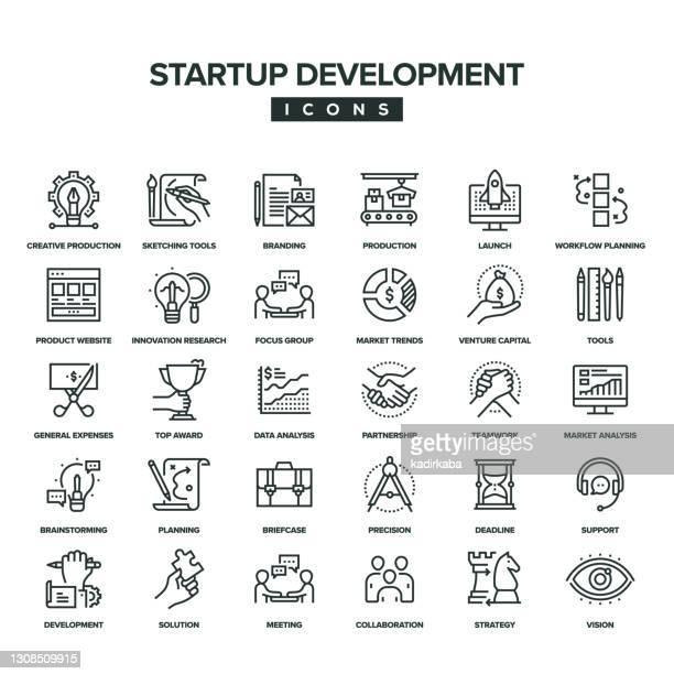 startup development line icon set - fokusgruppe stock-grafiken, -clipart, -cartoons und -symbole