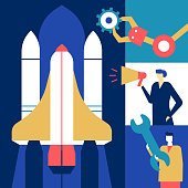 Startup - flat design style conceptual colorful illustration