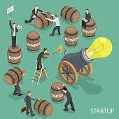 Startup flat isometric low poly vector concept