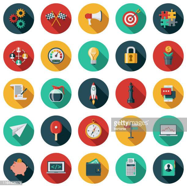 startup icon set - color image stock illustrations