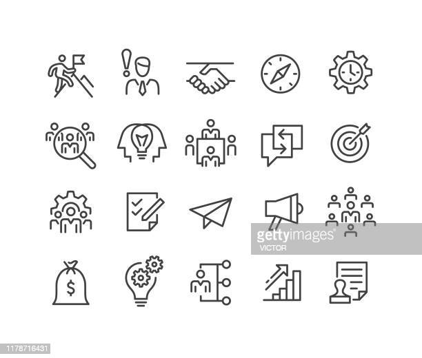 startup icons - classic line series - waist up stock illustrations
