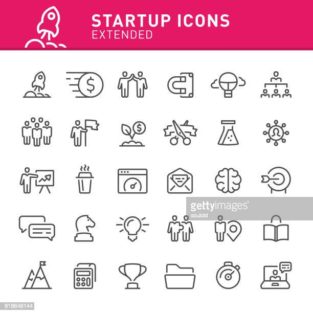 startup icons - opening event stock illustrations