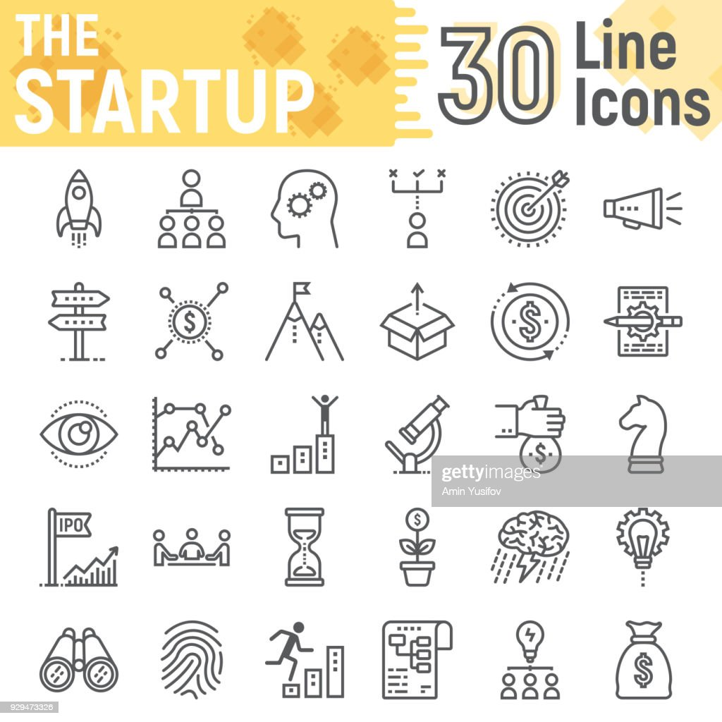 Startup line icon set, development symbols collection, vector sketches, logo illustrations, business finance signs linear pictograms package isolated on white background, eps 10.