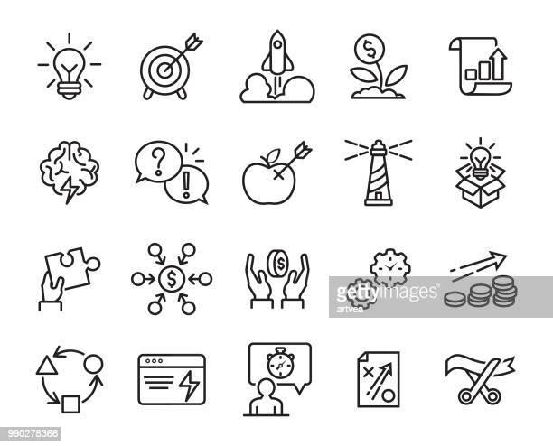 ilustrações, clipart, desenhos animados e ícones de conjunto de ícones de linha de inicialização - mountain peak