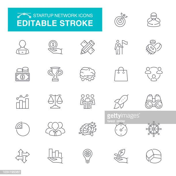 startup network editable stroke icons - control stock illustrations