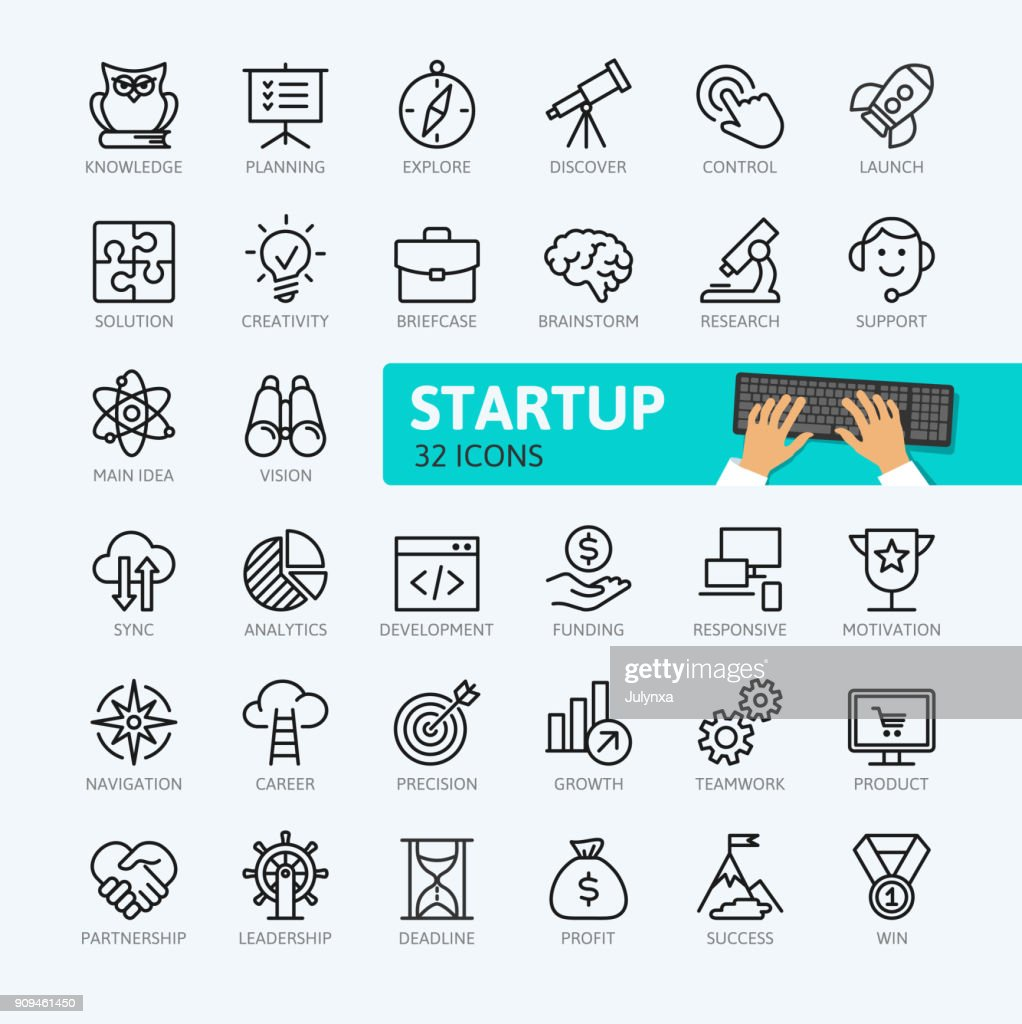 Startup project and development - minimal outline icons collection.
