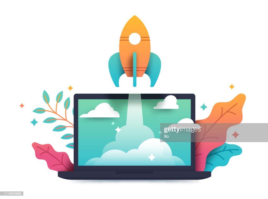 Startup Rocket Laptop Taking Off : Stock-Illustration