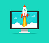 Startup vector concept, flat cartoon quick rocket launch and computer or desktop pc, idea of successful business project start up, boost technology, innovation strategy